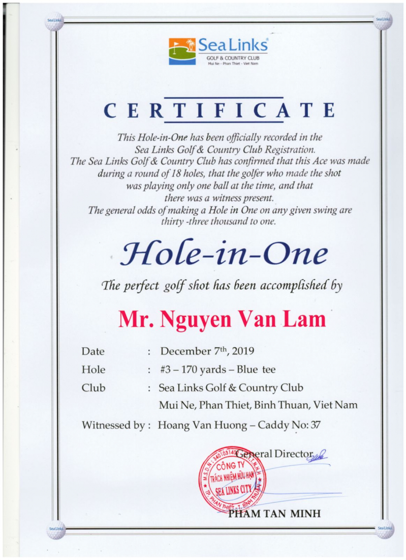 Chứng nhận Hole in One từ Sea Link Golf & Country Club