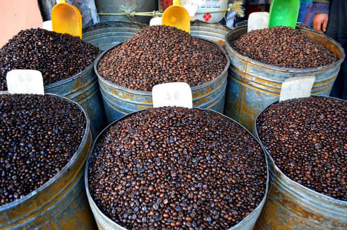 Coffee beans being sold at Marrakech, Morocco. This is an advantageous product of Vietnam in Morocco.